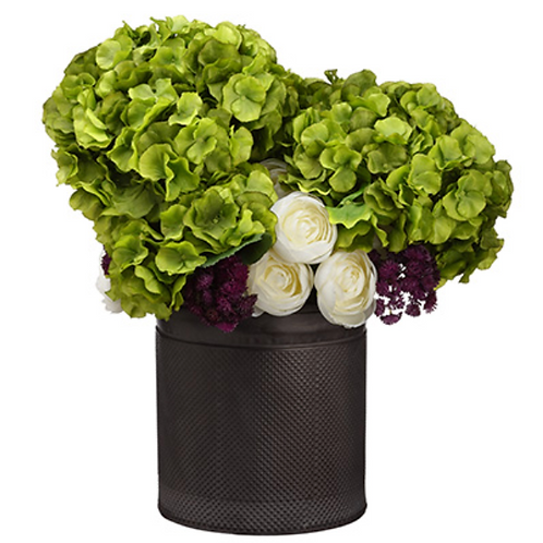 "19""Hx16""Wx16""L Ranunculus/Hydrangea in Tin Planter Green Eggplant"