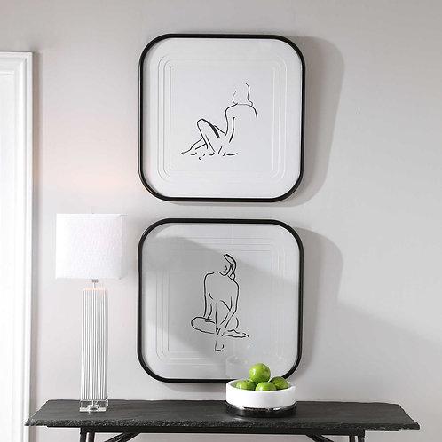 Feminine Sketch Framed Prints (Set of 2)