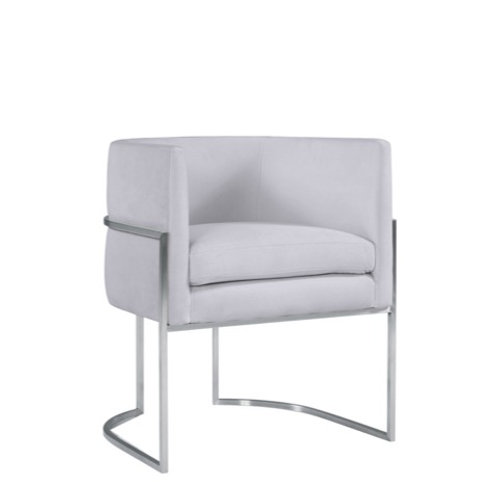 Giselle Velvet Dining Chair, Grey with Silver Leg