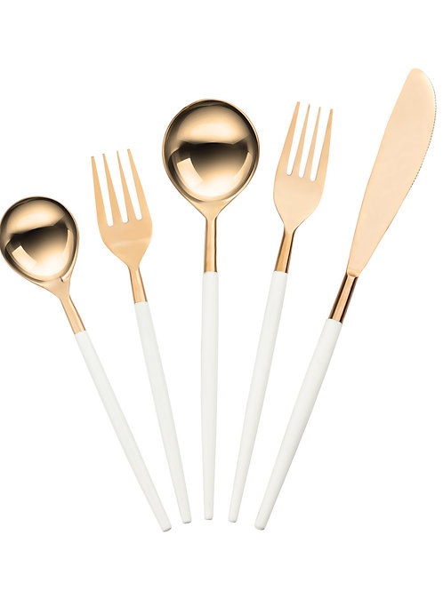 Stainless Steel Flatware, Rose Gold/White (20 Piece Set)