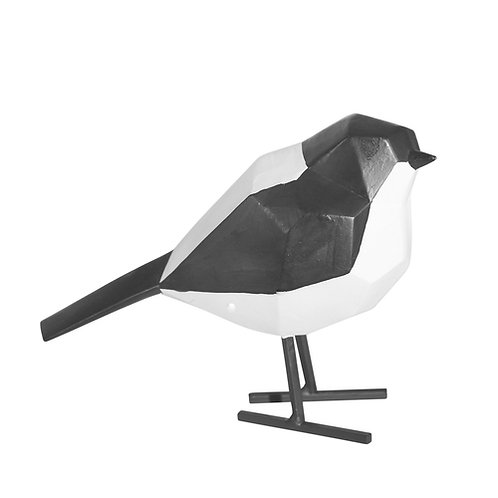 """Resin Bird with Metal Feet, Black and White 5.25"""""""