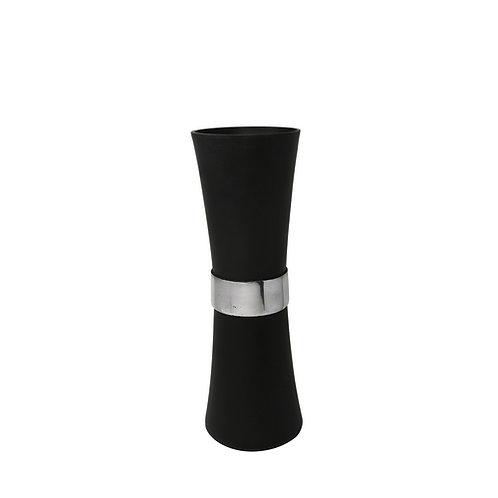 Aluminum Vase with Silver Band, Black 19""
