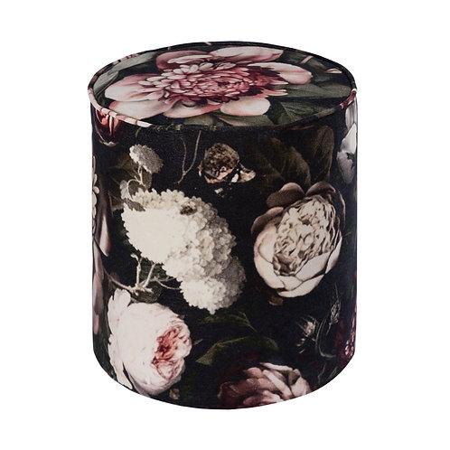 Moody Velvet Pouf, Floral