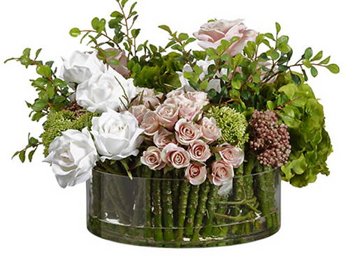Hydrangea/Rose Mixed in Glass Cylinder Pink White