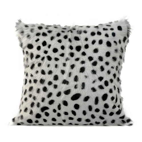 Goat Fur Pillow, Spotted Light Grey