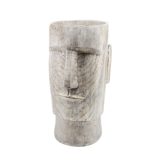Resin Face Planter, Grey 24""