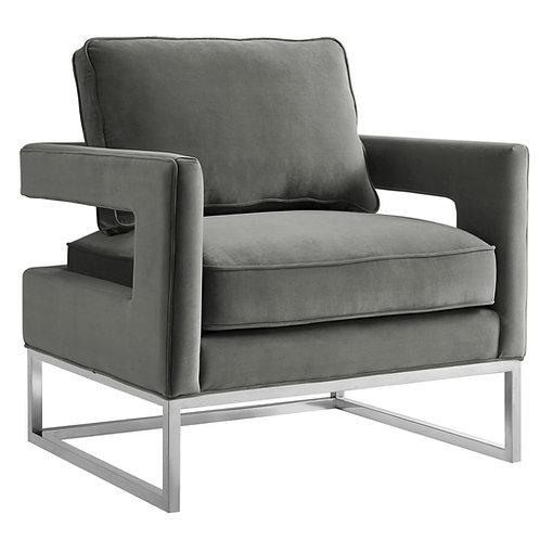 Avery Velvet Chair, Grey with Silver Frame
