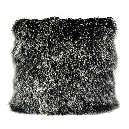 Lamb Fur Pillow Large, Black Snow