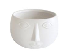 "Ceramic Face Bowl, Matte White 7"""