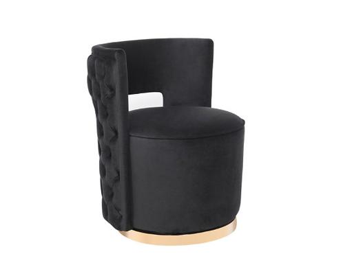 Mimosa Velvet Swivel Chair, Black