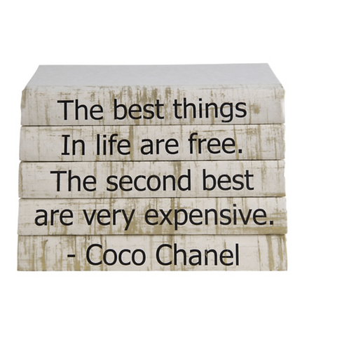 """5 Vol. Coco Chanel  """"The Best Things in Life"""" Quote Brushstrokes on Cream"""