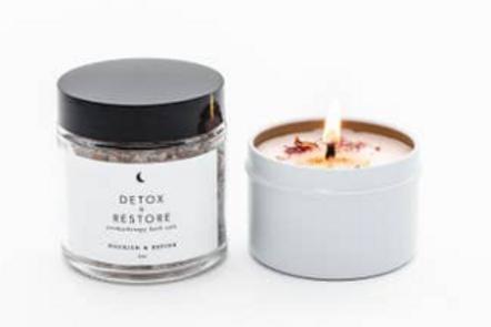 Nourish & Refine - Luxury Bath Set: Luxury Candle & Bath Salts (both 4 oz)