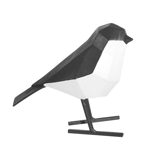 Resin Bird with Metal Feet, Black And White 6.25""