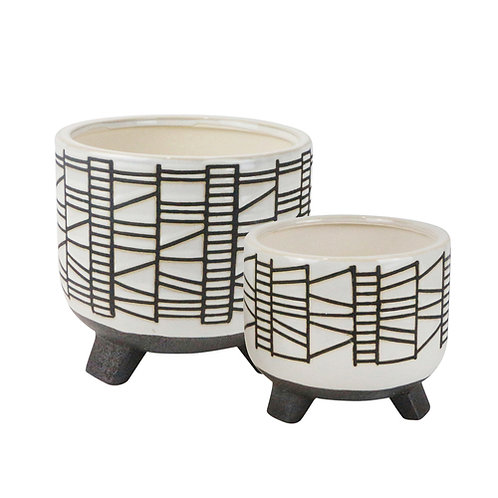 "Ceramic Geo Footed Planter, White 6/8"" (Set of 2)"