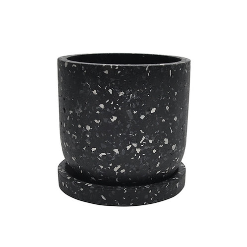 """Terrazo Planter with Saucer, Grey 5"""""""
