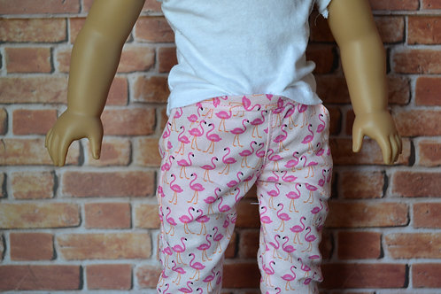 Pink Flamingo Chinos for 18 inch Dolls