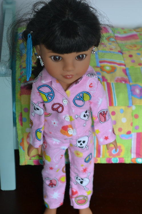 Peace Love Skulls Pajamas for 14.5 inch Dolls