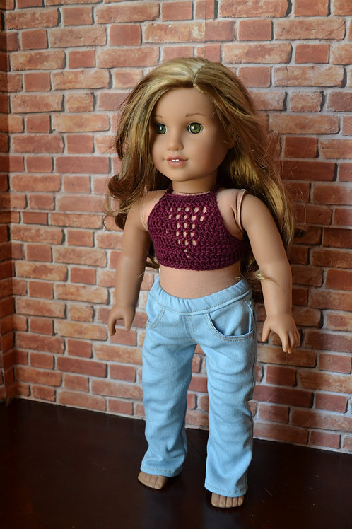 Bohemian Crocheted Halter Top Raspberry for 18 inch Doll