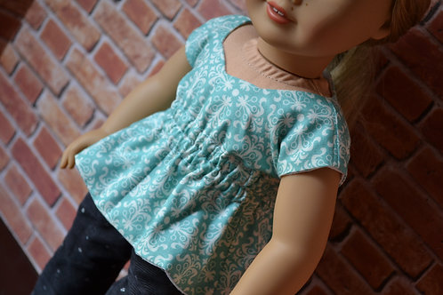 Floral Tiles Sweetheart Top for 18 inch Dolls