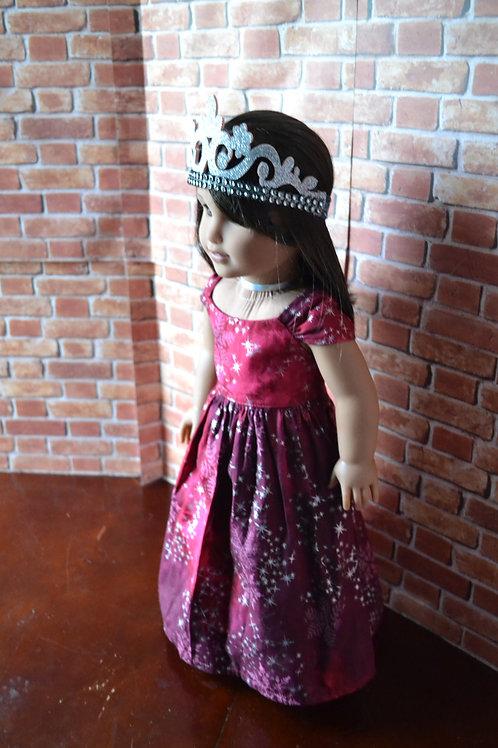 Garnet Burgundy Silver Snow Princess Dress for 18 inch Dolls