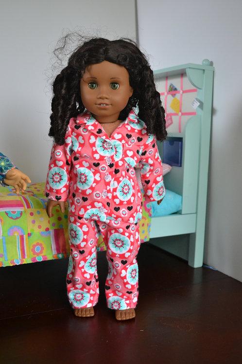 Circle Hearts Pajamas for 18 inch Dolls