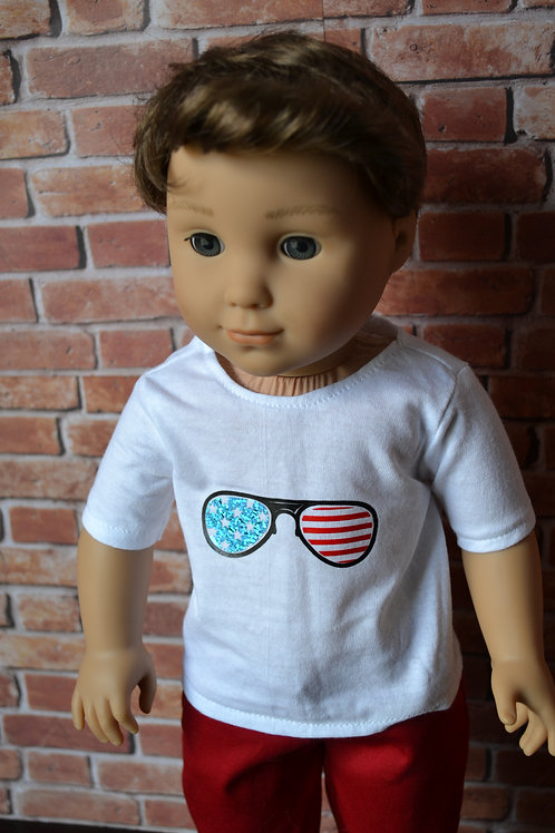 Graphic T-shirt - Freedom Sunglasses Shirt for 18 inch Dolls