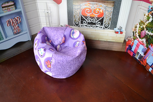 Bean Bag Chair - Purple Fairy Monster with Purple Dots