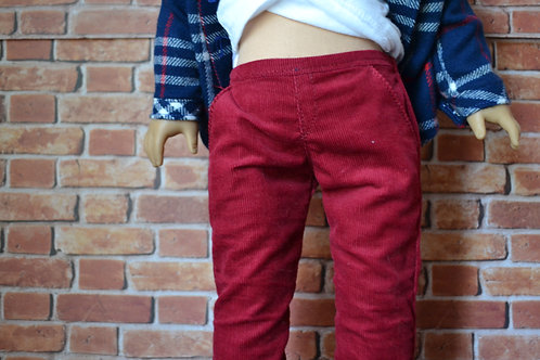 Red Corduroy Chinos for 18 inch Dolls