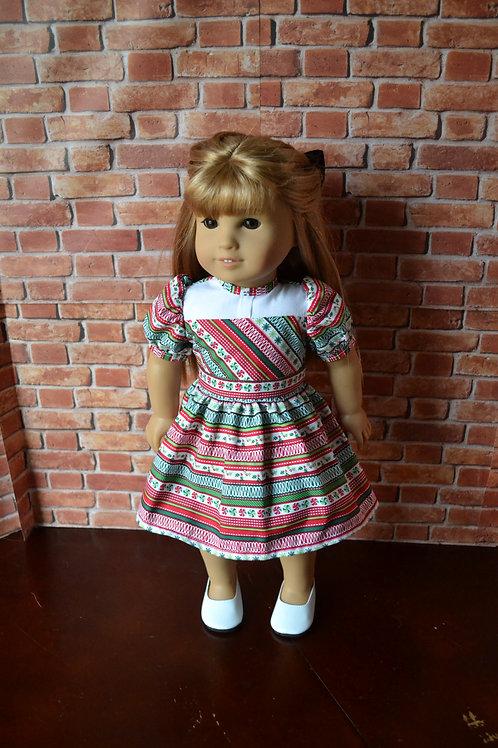 Ribbon Candy Stripe Tartan Holiday Dress for 18 inch Dolls