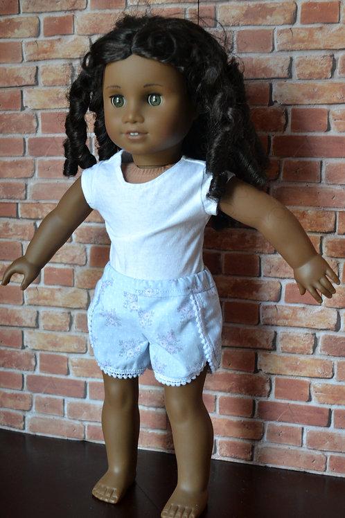 Sweet Lavender Pom Pom Shorts for 18 inch Dolls