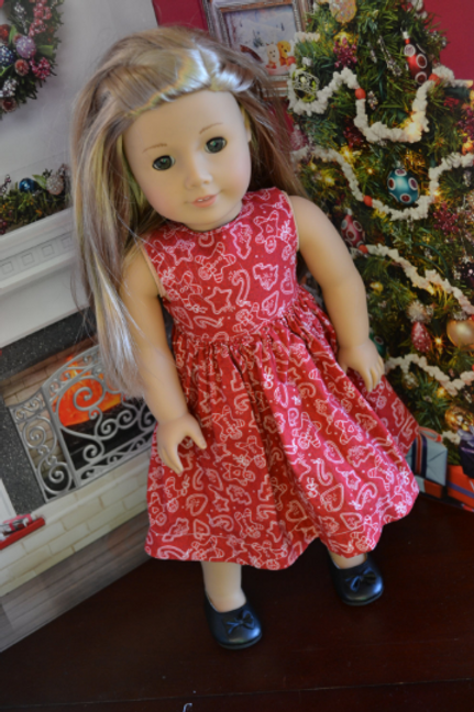 Red Gingerbread Dress for 18 inch Dolls