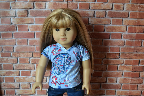 Blue Paisley V-neck T-shirt for 18 inch Doll