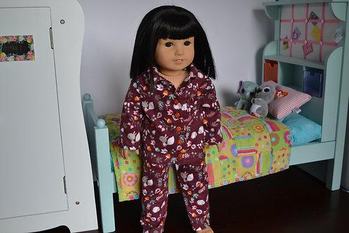 Woodland Animals Pajamas for 18 inch Dolls