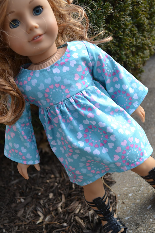 Heart Circles Swing Dress for 18 inch Dolls