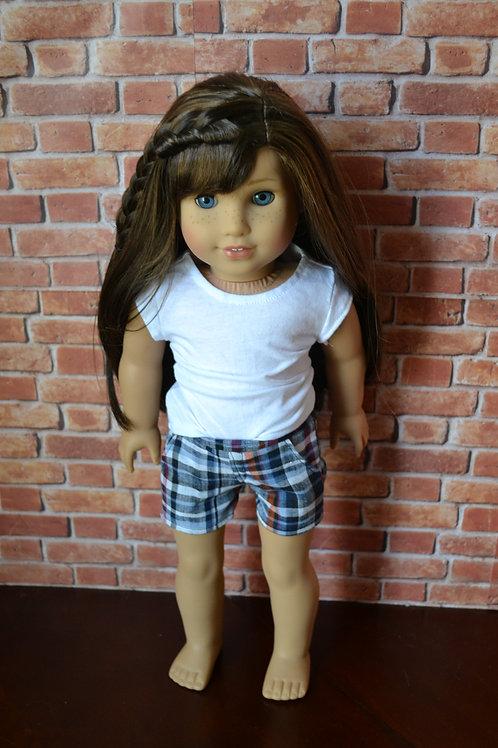 Tabitha Plaid Moto Pocket Shorts for 18 inch Dolls