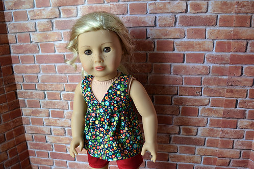 Navy Floral Salina Top for 18 inch Dolls