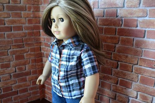 Tabitha Plaid Buttondown Shirt for 18 inch Doll