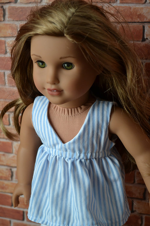 Blue and White Stripe Salina Top for 18 inch Dolls