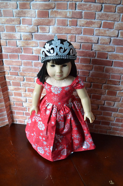 Red Crimson Silver Snow Princess Dress for 18 inch Dolls