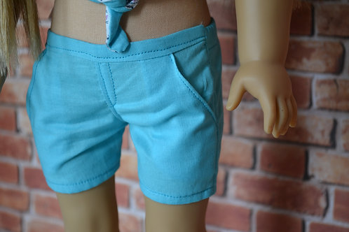 Aqua Blue Moto Pocket Shorts for 18 inch Dolls