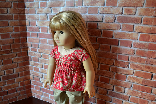Preppy Floral Sweetheart Top for 18 inch Dolls