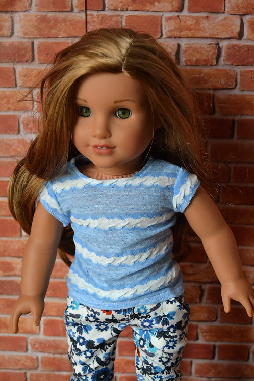 Light Blue Striped Capped Sleeve T-shirt for 18 inch Doll