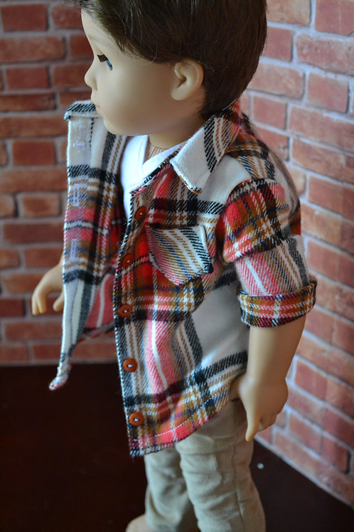 Pumpkin Plaid Long Sleeved Flannel Button Down Shirt  for 18 inch