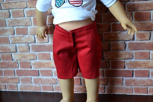 Red Long Shorts for 18 inch Dolls