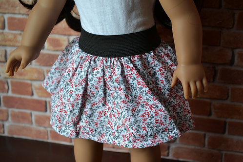 Pretty Floral Elastic Skirt for 18 inch Dolls