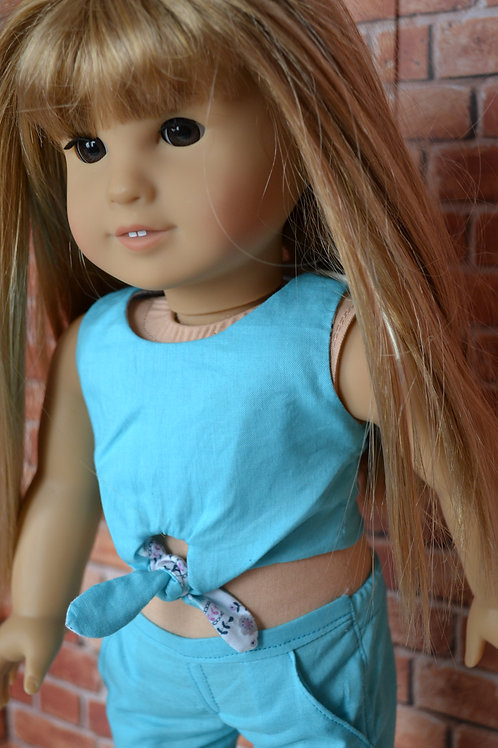 Aqua Floral Reversible Tie-Front Crop Top for 18 inch Dolls