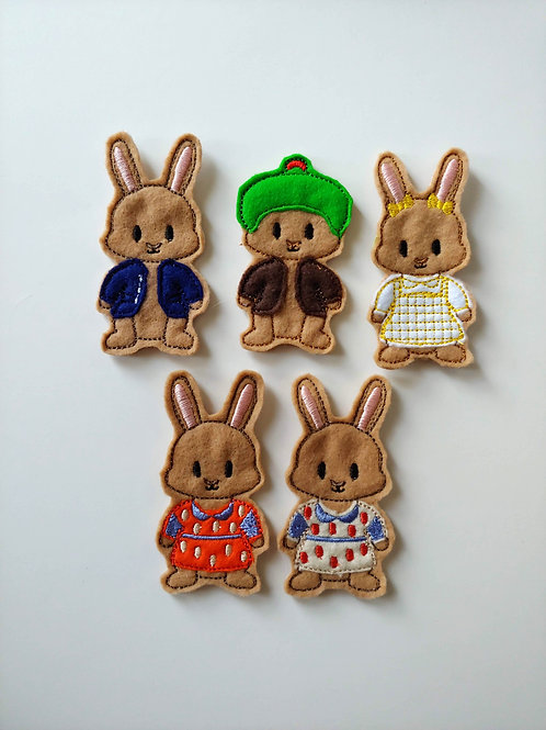 Rabbit Family - Embroidered Felt Finger Puppets