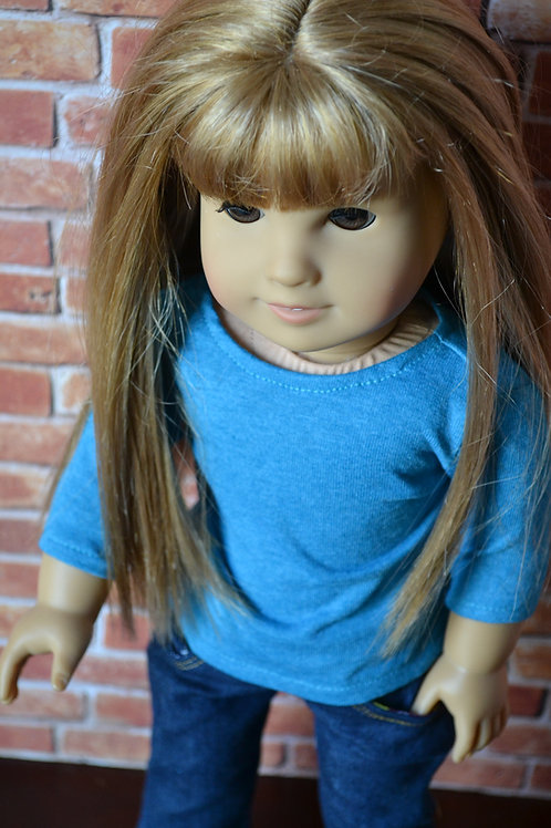 Teal 3/4 length sleeve T-Shirt for 18 inch Doll