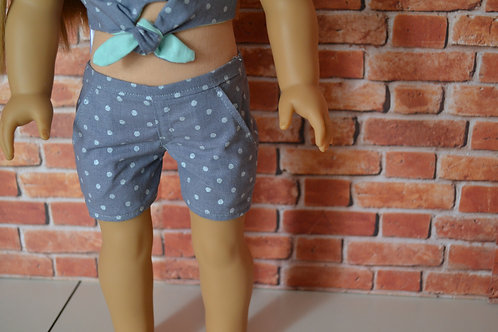 Grey Gray Polka Dot Moto Pocket Shorts for 18 inch Dolls