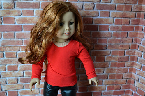 Red Long Sleeve T-Shirt for 18 inch Doll